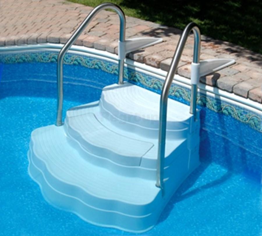 Escalier r sine lin ar immergable avec rampes inox - Echelle piscine hors sol resine ...